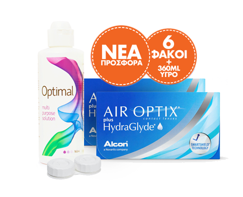 Alcon / Ciba Vision  AIR OPTIX PLUS HYDRAGLYDE 3pck πακέτο 2 κουτιών (6 φακοί) + Optimal 360 ml